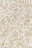 Tatewaku, a natural stone hand cut mosaic shown in Botticino and polished Calcutta Tia, is part of the Silk Road Collection by Sara Baldwin for New Ravenna Mosaics. <br />