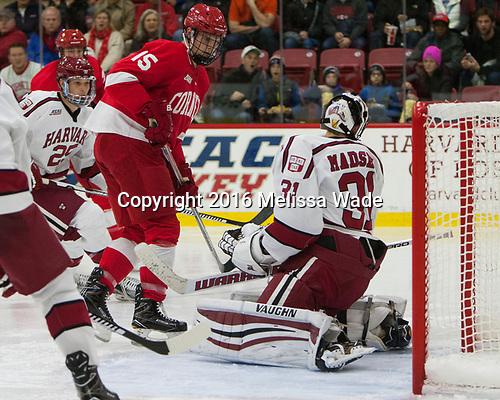Trevor Yates (Cornell - 15) - The Harvard University Crimson defeated the visiting Cornell University Big Red on Saturday, November 5, 2016, at the Bright-Landry Hockey Center in Boston, Massachusetts.