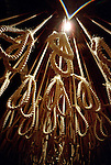 A exhibit of 131 nooses representing all the political prisoners that was hanged by the Apartheid regime are displayed at the Apartheid museum on December 19, 2001 in Johannesburg, South Africa. The museum covers a part of South African history that started with the enactment of apartheid laws in 1948. Racial discrimination was then institutionalized. (Photo by: Per-Anders Pettersson)