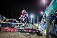 bunnyhopping' with Mathieu Van der Poel (NED/Beobank-Corendon)<br /> <br /> Elite Men's race<br /> Superprestige Diegem 2016