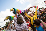 Electric Fields music festival at Drumlanrig Castle, Dumfries and Gallloway Scotland. Colonel Mustard crowd surfing,