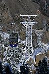 Gondola aerial tramway bringing tourists up from the valley floor to the San Jacinto mountain lodge Palm Springs California USA