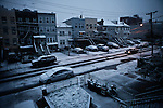 Wintry Storm Northeast begins to affect the area on Jersey City, United States. 07/11/2012. Photo by Kena Betancur/VIEWpress.