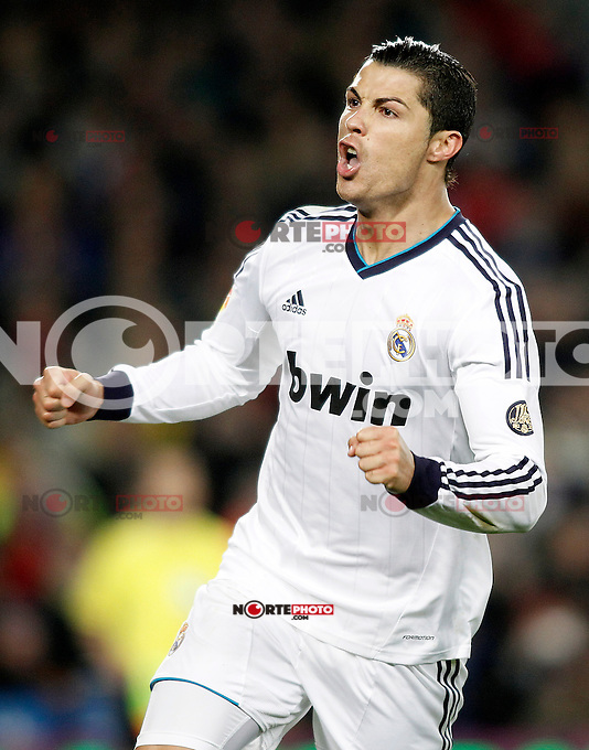 Real Madrid's Cristiano Ronaldo celebrates goal during Copa del Rey - King's Cup semifinal second match.February 26,2013. (ALTERPHOTOS/Acero) /Nortephoto