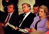Part of the Clinton Foreign Policy Team, from left to right: Dennis Ross, State Department Middle East Advisor; Samuel (Sandy) Berger, National Security Advisor; and Madeline Albright, Secretary of State attend the joint press confrence with United States President Bill Clinton and President Hosni Mubarak of Egypt in the East Room of the White House in Washington, D.C. on Monday, March 10, 1997..Credit: Ron Sachs / CNP