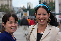Cuba, Havana.  Two Cuban Ladies on the Paseo de Marti.
