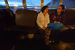 Yarely Arellano (right) and her mother, Patricia Esquivel, ride a bus early in the morning in the Mexican city of Juarez. Esquivel accompanies her daughter to the U.S. border, where Arellano crosses into El Paso, Texas, to study at the Lydia Paterson Institute, a United Methodist sponsored high school. Arellano, 20, makes the journey every school day, and most days her mother accompanies her to the border for safety. Arellano was born in the United States, and is thus a U.S. citizen, but her mother, a Mexican national, was later deported and is not allowed to reenter the U.S.