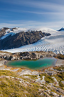 Mountain pond and the Exit glacier and Harding Ice Field, Kenai Fjords National Park,  Kenai Peninsula, southcentral, Alaska.