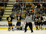 30 December 2007: Quinnipiac University Bobcats' celebrate a goal against the University of Vermont Catamounts at Gutterson Fieldhouse in Burlington, Vermont. The Bobcats defeated the Catamounts 4-1 to win the Sheraton/TD Banknorth Catamount Cup Tournament...Mandatory Photo Credit: Ed Wolfstein Photo