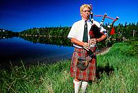 Bagpiper, St. Ann's, Cabot Trail, Cape Breton Island, Nova Scotia, Canada