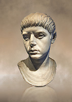 Roman portrait bust of a young man from the reign of Nero, 54-68 AD. This portrait can be dated to the reign of Nero due to the facial features and hair style, with short locks and long fringe over the forehead. The young man is wearing a tunic, stopped with a small fibula (clasp) on the left shoulder. Inv 281, The National Roman Museum, Rome, Italy