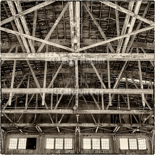 Historic abandoned WWII-era aircraft hanger at the airport, Tonopah, Nev.