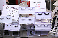 Eve Pearl lashes displayed at the Makeup Show NYC, in the Metropolitan Pavilion, May 15 2011.