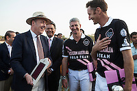 Dr Lachlan Strahan (left) of the Australian High Commission shares a light conversation with the polo players after the Argyle Pink Diamond Cup, organised as part of the 2013 Oz Fest in the Rajasthan Polo Club grounds in Jaipur, Rajasthan, India on 10th January 2013. Photo by Suzanne Lee