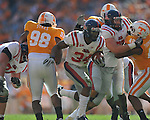 Ole Miss running back Brandon Bolden (34) runs for a touchdown in a college football game at Neyland Stadium in Knoxville, Tenn. on Saturday, November 13, 2010. Tennessee won 52-14.