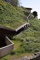 La Granja escalators, 2000, built by José Antonio Martinez Lapeña (Tarragona, Spain, 1941) and Elías Torres Tur (Ibiza, Spain, 1944), Toledo, Castilla la Mancha, Spain. Mechanical stairs dug in a magnificent cliff of the city and leading to its historical centre. Picture by Manuel Cohen