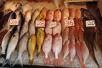 Hong Kong,  Central, 12 December, 2006..Gage Street in het centrum van Hong Kong heeft nog veel traditionele winkels en markt stallen. ..Gage street  is the starting point of a busy market area. Shops sell everything from fresh fish and meat to fruit and flowers. ...Foto Kees Metselaar