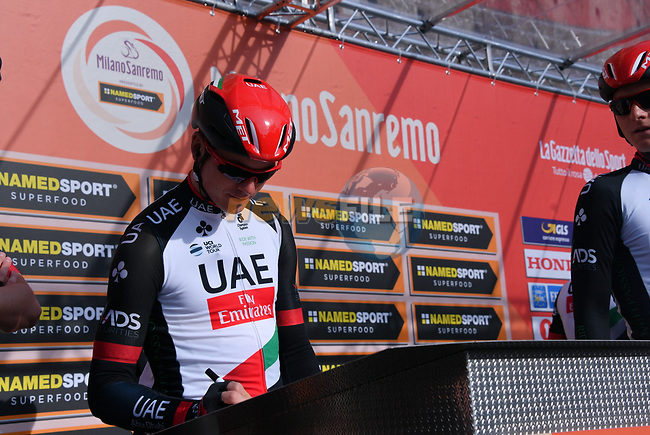 UAE Team Emirates rider at sign on before the start of the 108th edition of Milan-San Remo 2017 by NamedSport the first Classic Monument of the season running 291km from Milan to San Remo, Italy. 18th March 2017.<br /> Picture: La Presse/Gian Mattia D'Alberto | Cyclefile<br /> <br /> <br /> All photos usage must carry mandatory copyright credit (&copy; Cyclefile | La Presse)