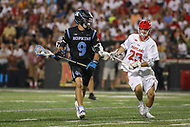 College Park, MD - April 29, 2017: Johns Hopkins Blue Jays Wilkins Dismuke (9) in action during game between John Hopkins and Maryland at  Capital One Field at Maryland Stadium in College Park, MD.  (Photo by Elliott Brown/Media Images International)