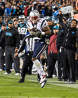 The Carolina Panthers play the New England Patriots at Bank of America Stadium in Charlotte North Carolina on Monday Night Football.  The Panthers defeated the Patriots 24-20.  New England Patriots wide receiver Aaron Dobson (17)