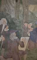 Detail of Antoine Watteau and Voltaire from a fresco entitled La Periode Classique, 1 of a series of 4 paintings depicting the 4 ages of French art, showing the French royal court in the gardens of the Palais de Versailles, with Marie Antoinette and the Dauphin, Mabel Gage, Voltaire and Antoine Watteau painting his painting L'Indifferent of 1716, painted in Art Deco style in 1929-30 by Robert La Montagne Saint-Hubert, 1887-1950, and 2 assistants, Ethel Wallace and James Newell, 1900-1985, 1 of 6 frescoes which were discovered during works in 1994 and restored in 2011, in the Grand Salon or Great Hall of the Fondation des Etats Unis or American Foundation, designed by Pierre Leprince-Ringuet, 1874-1954, and inaugurated in 1930, in the Cite Internationale Universitaire de Paris, in the 14th arrondissement of Paris, France. The Grand Salon is listed as a historic monument. The CIUP or Cite U was founded in 1925 after the First World War by Andre Honnorat and Emile Deutsch de la Meurthe to create a place of cooperation and peace amongst students and researchers from around the world. It consists of 5,800 rooms in 40 residences, accepting another 12,000 student residents each year. Picture by Manuel Cohen. Further clearances may be requested.