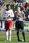 16 November 2008: Maryland's Omar Gonzalez (4) and Zac MacMath (1). The University of Maryland defeated the University of Virginia 1-0 at WakeMed Stadium at WakeMed Soccer Park in Cary, NC in the men's ACC tournament final.