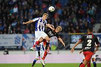 VOETBAL: HEERENVEEN: Abe Lenstra stadion 23-08-2014, SC Heerenveen - Excelsior uitslag 2 - 0, Joost van Aken kopt de bal, ©foto Martin de Jong