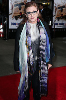 WESTWOOD, LOS ANGELES, CA, USA - NOVEMBER 03: Carrie Fisher arrives at the Los Angeles Premiere Of Universal Pictures and Red Granite Pictures' 'Dumb and Dumber To' held at the Regency Village Theatre on November 3, 2014 in Westwood, Los Angeles, California, United States. (Photo by Xavier Collin/Celebrity Monitor)