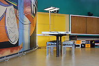 Painted mural entitled 'the painting of silence', 1948, by Le Corbusier (Charles-Edouard Jeanneret, 1887-1965), and furniture by Charlotte Perriand, 1903-1999, in the curved lounge or Salon Courbe of the Fondation Suisse or the Swiss Foundation, designed by Le Corbusier and Pierre Jeanneret (his cousin, 1896-1967) and inaugurated 1930, in the Cite Internationale Universitaire de Paris, in the 14th arrondissement of Paris, France. This painted mural replaced an earlier photographic mural from 1933. The structure sits on stilts and the reception area has an open floor plan, the facade is simple and flat with many windows and there is a rooftop garden. It is listed as a historic monument. The CIUP or Cite U was founded in 1925 after the First World War by Andre Honnorat and Emile Deutsch de la Meurthe to create a place of cooperation and peace amongst students and researchers from around the world. It consists of 5,800 rooms in 40 residences, accepting another 12,000 student residents each year. Picture by Manuel Cohen. L'autorisation de reproduire cette œuvre doit etre demandee aupres de l'ADAGP/Permission to reproduce this work of art must be obtained from DACS.