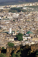 Fez, Morocco - Behind the White Minaret is the Kairouyine (Karaouiyine) Mosque; to the right is the Zawiya of Moulay Idris II.