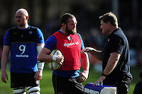 Bath Rugby first team coach Neal Hatley speaks with Tom Dunn during the pre-match warm-up. Aviva Premiership match, between Bath Rugby and London Irish on March 5, 2016 at the Recreation Ground in Bath, England. Photo by: Patrick Khachfe / Onside Images