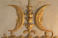 """Gilded carved stuccoes depicting faces in a crescent moon, Turkish Boudoir, redesigned in 1777 for Marie Antoinette, by architect Richard Mique, Chateau de Fontainebleau, France. The decoration is the achievement of the brothers Rousseau, and the furniture dates to the period of the First Empire, with precious textile work done by Jacob-Desmalter for Empress Josephine. Including a small bedroom, mirrors, and curtains raised by pulleys, this exceptional ensemble has been restored in 2014 thanks to the support of INSEAD and the generosity of subscribers of sponsors belonging to the group """"Des Mécènes pour Fontainebleau"""". Its opening to the public is schedule for Spring 2015. Picture by Manuel Cohen"""