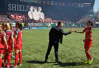 Portland, OR - Saturday April 15, 2017: Mark Parsons, Christine Sinclair during a regular season National Women's Soccer League (NWSL) match between the Portland Thorns FC and the Orlando Pride at Providence Park.