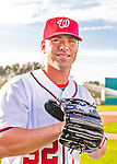28 February 2016: Washington Nationals first baseman Tyler Moore poses for his Spring Training Photo-Day portrait at Space Coast Stadium in Viera, Florida. Mandatory Credit: Ed Wolfstein Photo *** RAW (NEF) Image File Available ***