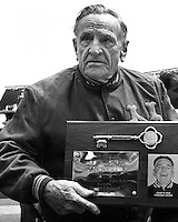 Casey Stengel with award on Casey Stengel Day at the Oakland Coliseum Aug 18,1968. photo/Ron Riesterer