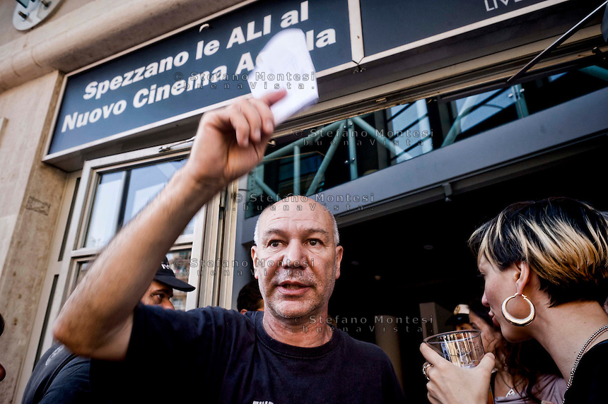 Roma, 9 Giugno  2015<br /> Il comune di Roma revoca la concessione del Nuovo Cinema Aquila, storico cinema del quartiere Pigneto, con tre anni di anticipo rispetto alla scadenza del regolare contratto di concessione e i lavoratori del cinema verranno licenziati.<br /> Il Nuovo Cinema Aquila &egrave; l'unico cinema che a Roma  a proiettato il film di Sabina Guzzanti &quot;La trattativa Stato-Mafia&quot;.  Nella foto: Fabio Meloni, direttore del  Nuovo Cinema Aquila.<br /> Rome, June 9, 2015<br /> The municipality of Rome revoked the grant of the Nuovo Cinema Aquila, the historic movie theater of Pigneto, with three years in advance of the expiry of the concession contract and regular employees of the cinema will be laid off.<br /> The Nuovo Cinema Aquila is the only cinema in Rome to screen the film by Sabina Guzzanti &quot;Negotiation State-Mafia&quot;. Pictured: Fabio Meloni, director of the New Cinema Aquila