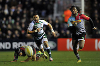 Telusa Veainu of Leicester Tigers and Marland Yarde of Harlequins chase after the ball. Aviva Premiership match, between Harlequins and Leicester Tigers on February 19, 2016 at the Twickenham Stoop in London, England. Photo by: Patrick Khachfe / JMP