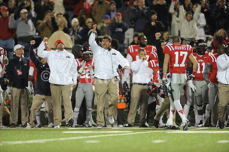 Ole Miss assistant coach Matt Luke reacts to the Rebels stopping Mississippi State on 4th down at Vaught Hemingway Stadium in Oxford, Miss. on Saturday, November 24, 2012. Ole Miss won 41-24.