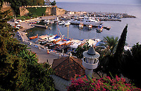 Antalya, Turkey, October 2005. Antalya yacht harbour. Sailing the Turkish coast in a wooden Gulet takes one along the most beautiful stretches of the Mediterranean. Small fishing villages, ancient Lycian and Byzantine ruins are scattered in the mountainous landscape lined by tranquil beaches and small islands. Photo by Frits Meyst / MeystPhoto.com