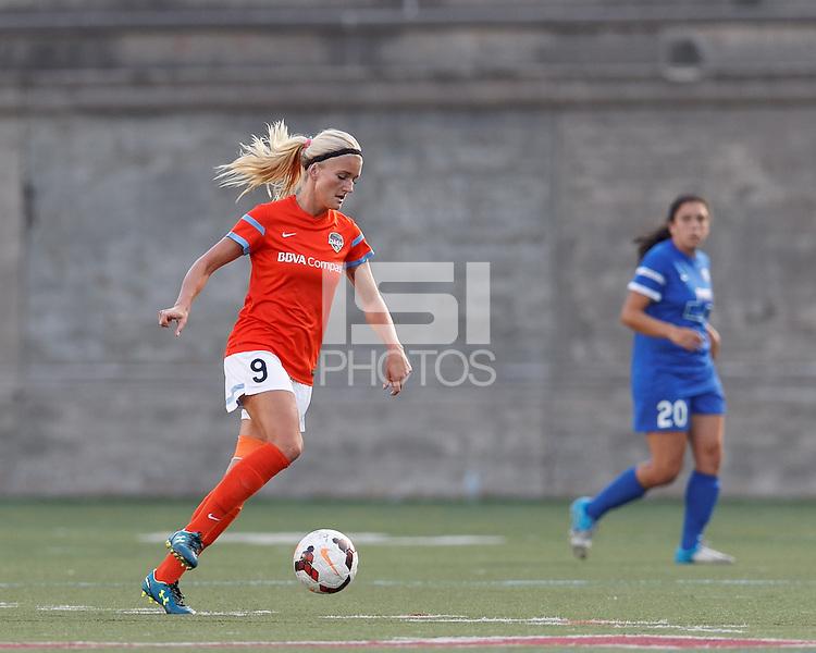 Allston, Massachusetts - August 17, 2014:  In a National Women's Soccer League (NWSL) match, Boston Breakers (blue) defeated Houston Dash (orange/white), 1-0, at Harvard Stadium.