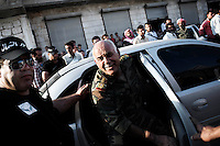 Syria, Salieh, Idlib province. Mustafa Sheikh get out of the car in Salieh, where has been organized a meeting with the population on September 20, 2012. ALESSIO ROMENZI