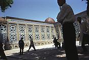 Men arrive for prayers at the Haji Yakoub mosque in Dushanbe, Tajikistan.