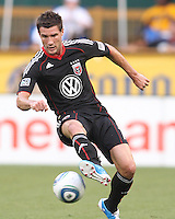 Chris Pontius #13 of D.C. United during an MLS match against the Los Angeles Galaxy at RFK Stadium on July 18 2010, in Washington D.C. Galaxy won 2-1.