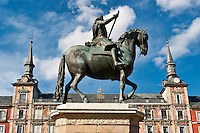 King Philip III landmark in the Plaza Mayor, Madrid, Spain