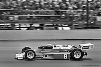 INDIANAPOLIS, IN: Tom Sneva drives his McLaren M24/Cosworth TC during the Indianapolis 500 on May 29, 1977, at the Indianapolis Motor Speedway.