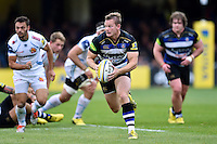 Chris Cook of Bath Rugby in possession. Aviva Premiership match, between Bath Rugby and Exeter Chiefs on October 17, 2015 at the Recreation Ground in Bath, England. Photo by: Patrick Khachfe / Onside Images