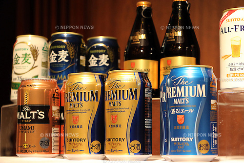 January 10, 2017, Tokyo, Japan - Suntory Beer Limited displays the company's products as president Tetsu Mizutani announces the company's business strategy in Tokyo on Tuesday, January 10, 2017. Suntory Beer will launch the new Premium Malt's beer in March for the government's Premium Friday campaign. (Photo by Yoshio Tsunoda/AFLO) LWX -ytd-