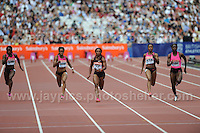 The Womens 100m heat 1 Hurdles race at the Sainsbury Anniversary Games, Olympic Stadium, London England Saturday 27th July 2013-Copyright owned by Jeff Thomas Photography-www.jaypics.photoshelter.com-07837 386244. No pictures must be copied or downloaded without the authorisation of the copyright owner.