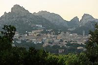 Aggius town &amp; granite hills<br /> Aggius, Sardinia, Italy