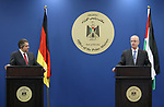 Palestinian Prime Minister Rami Hamdallah and German Foreign Minister Sigmar Gabriel attend a joint news conference in the West Bank city of Ramallah April 25, 2017. Photo by Prime Minister Office